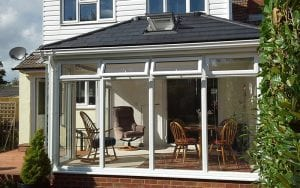 White uPVC Tiled roof cosnervatory