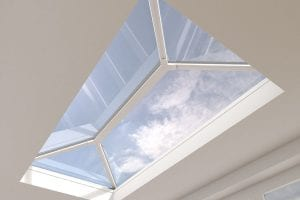Small white uPVC extension lantern roof